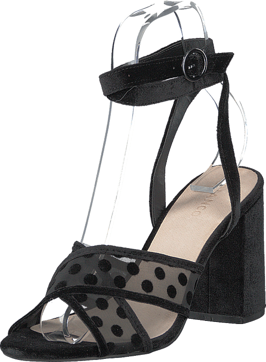 Bianco - Cali Velour Dots Sandal 104 - Black 4