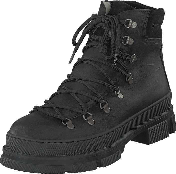 Boot With Laces And D-rings Black