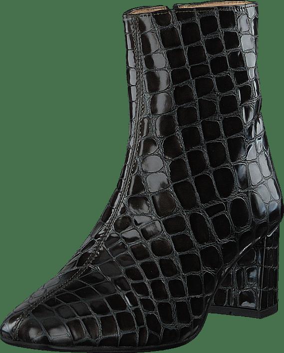 Angulus - Block Heel Boot With Zipper Olive Croco