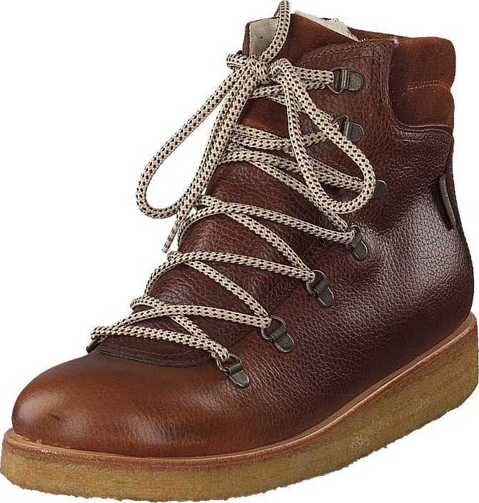 Angulus - Tex-boot With Laces And Zipper Cognac/brown/brown