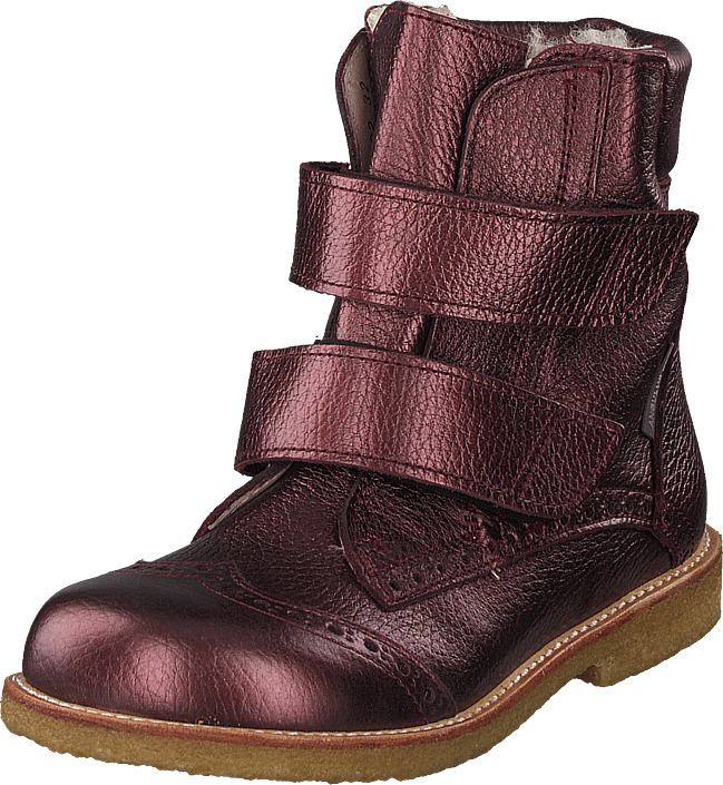 Angulus - Tex-boot With Velcro Closure Bordeaux Shine