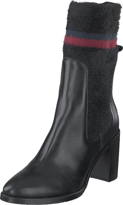 Tommy Hilfiger Cosy High Heel Leather Black, Skor, Stövlar & Stövletter, Högklackad stövel, Svart, Dam, 40