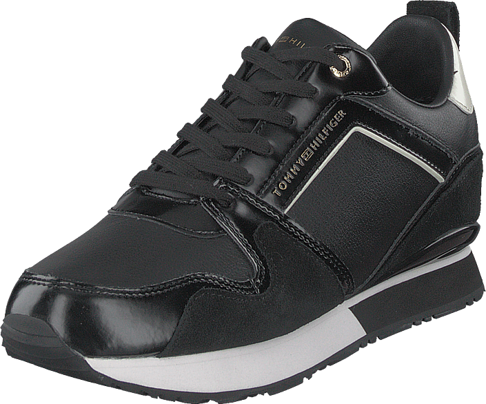 Tommy Hilfiger - Leather Wedge Sneaker Black