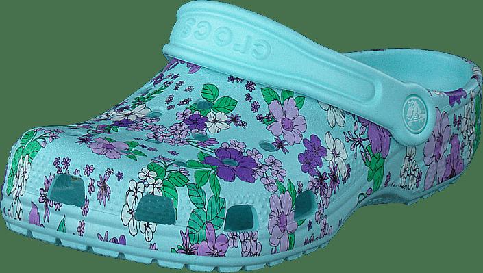 Crocs - Classic Floral Clog Ps Ice Blue