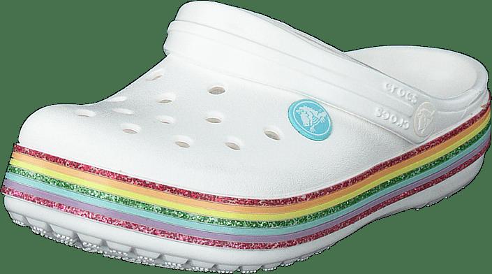 Crocband Rainbow Glitter Clg K White