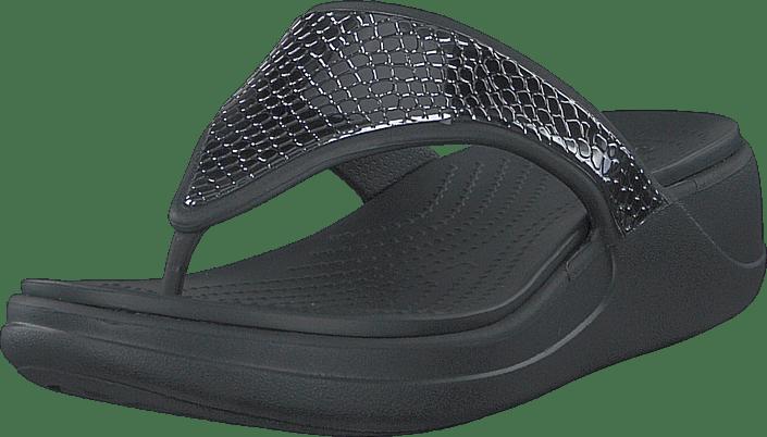 Crocs - Crocs Monterey Metllc Wdg Fp W Dark Charcoal/black