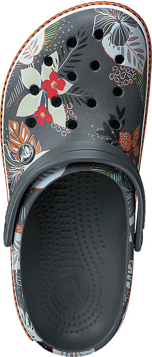 Crocband Botanical Print Clog Slate Grey/white