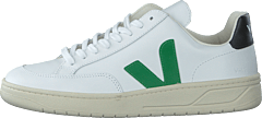 V-12 Leather Extra White-emeraude-black