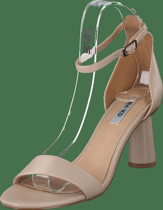 Cone Shape Strap Heels Beige