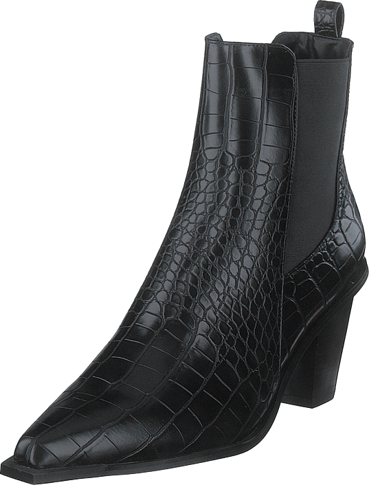 NA-KD - Croc Pointy Block Heel Black
