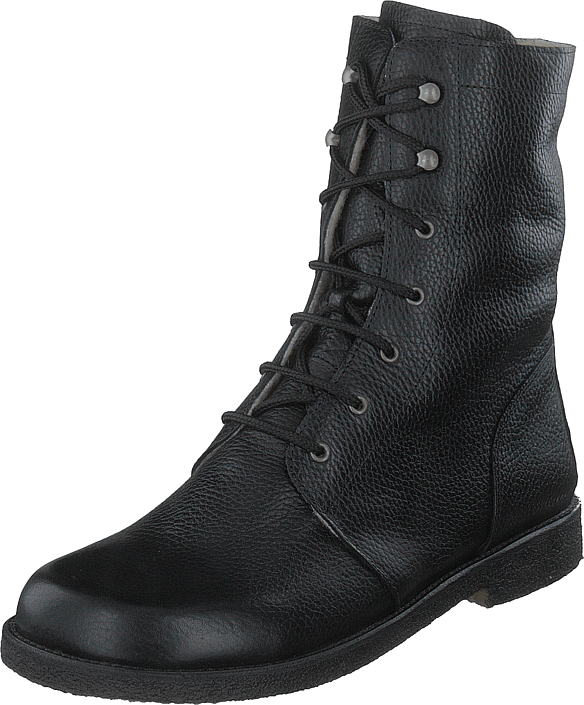 Angulus - Lace Up Boot With Zipper - Wid Black