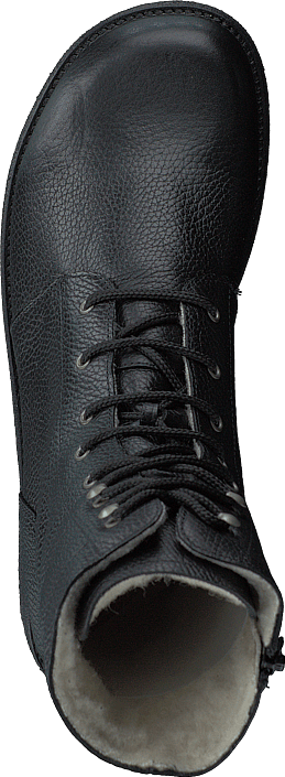 Lace Up Boot With Zipper - Wid Black