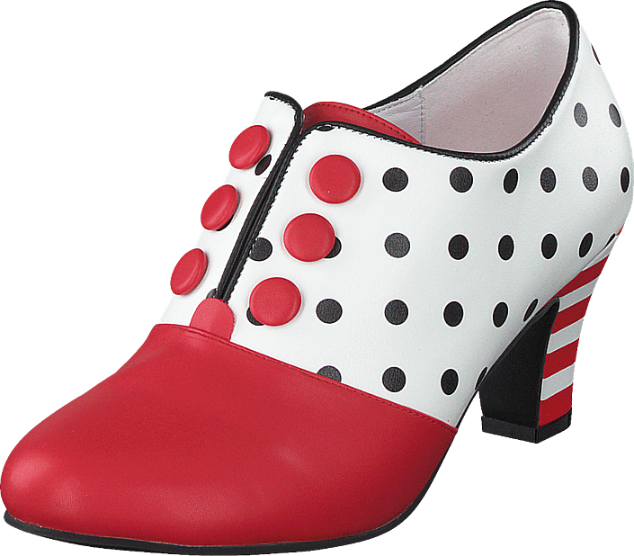 Lola Ramona - Ava Jitterbug Vegan White/red/dots