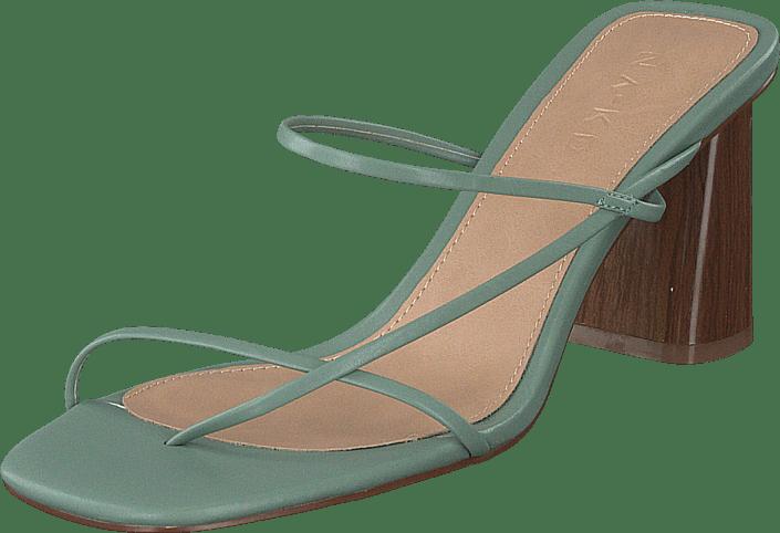Fine Strappy Block Heel Pastel Green