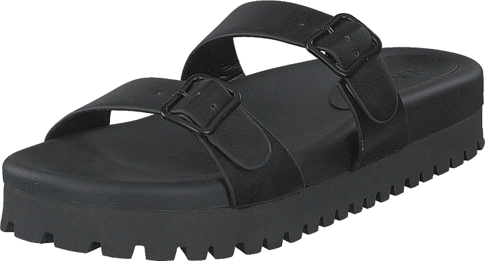 Chunky Double Buckle Sandals Black