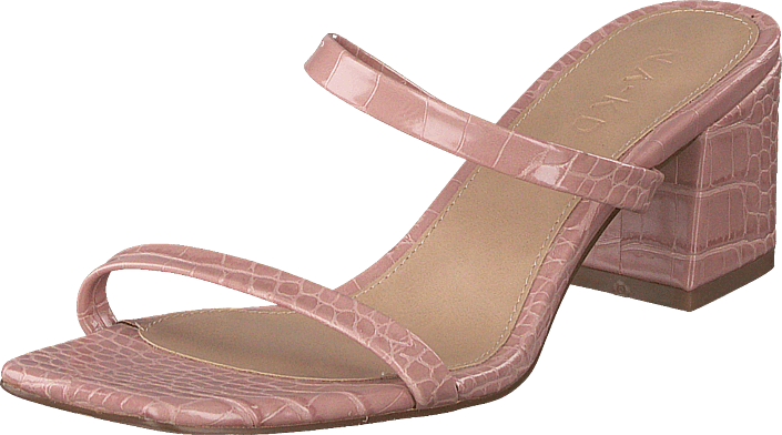 NA-KD - Croc Squared Strap Sandals Dusty Pink