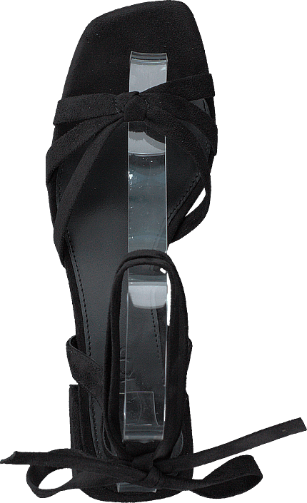 Faux Suede Ankle Strap Heels Black