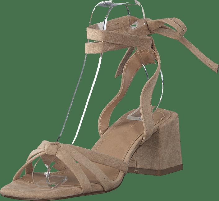 Faux Suede Ankle Strap Heels Beige