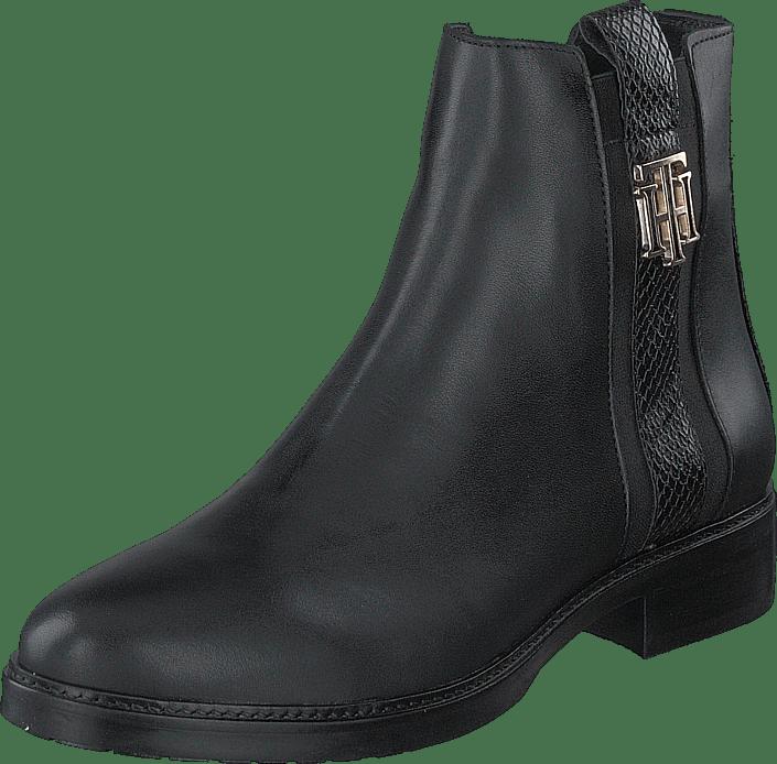 Tommy Hilfiger - Th Interlock Leather Flat Boot Black