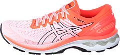 Gel-kayano 27 White/sunrise Red