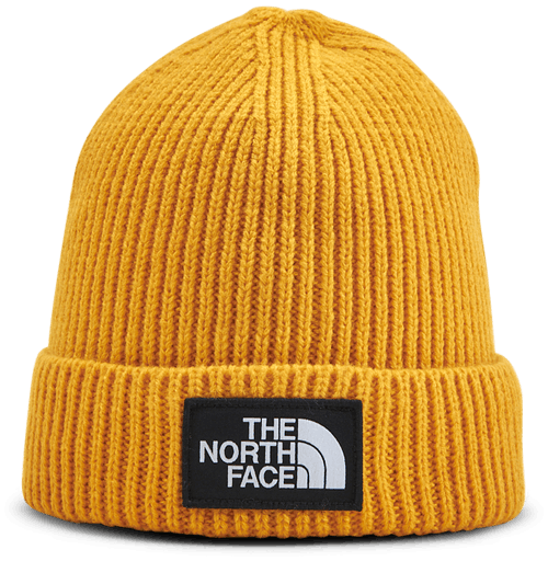 TNF Box Logo Cuff Beanie Jr Yellow
