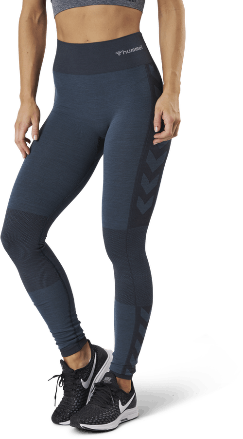 Seamless Mid Waist Tights Blue
