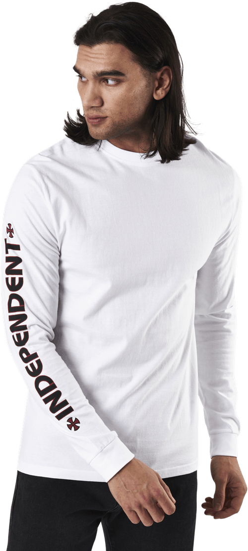 Bar Cross Long Sleeve Tee White