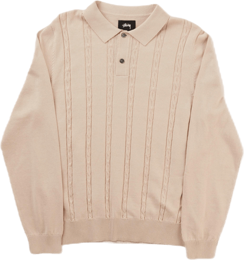 S Chain Ls Knit Polo Bone