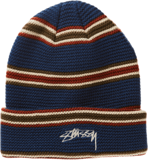 Triple Stripe Cuff Beanie Blue