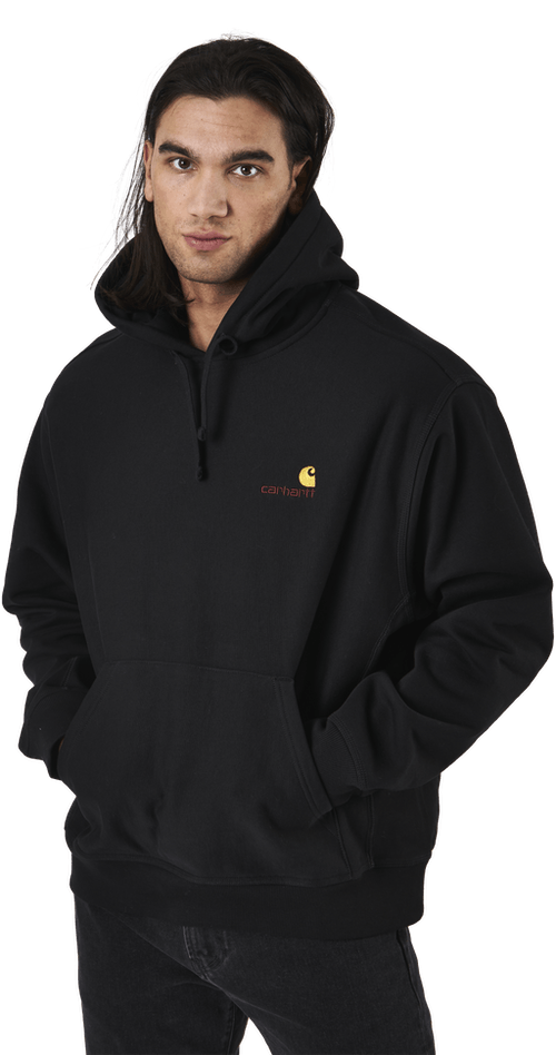 Hooded American Script Sweat Black