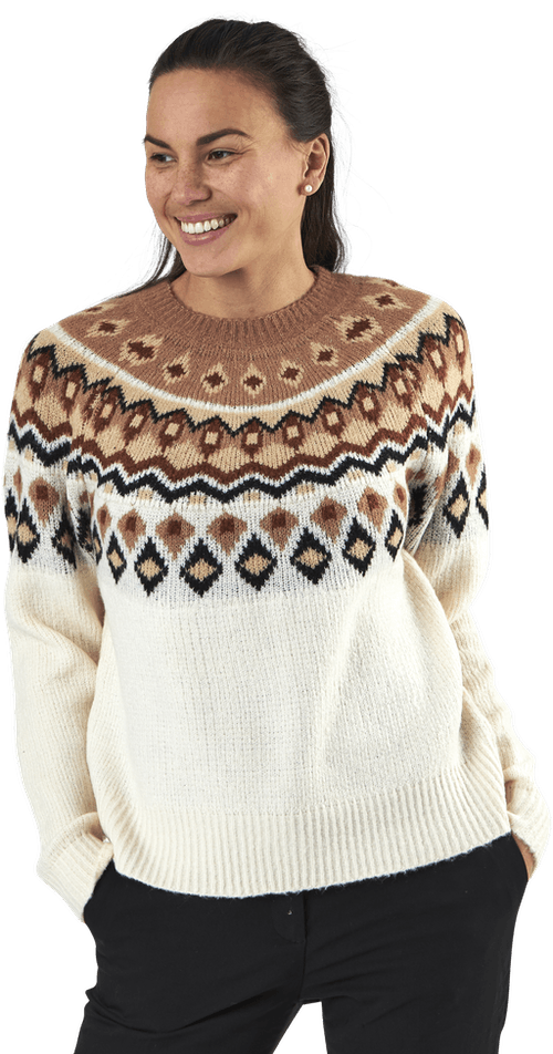 Amber Jaquard L/S Pullover Cc Knt Brown