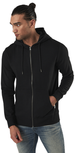 Basic Sweat Zip Hood Black