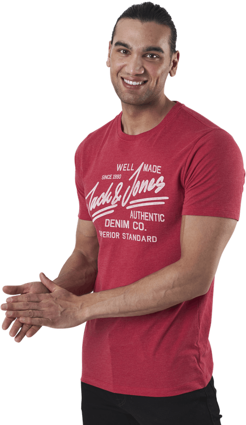 Jeans Tee Ss Crew Neck Red