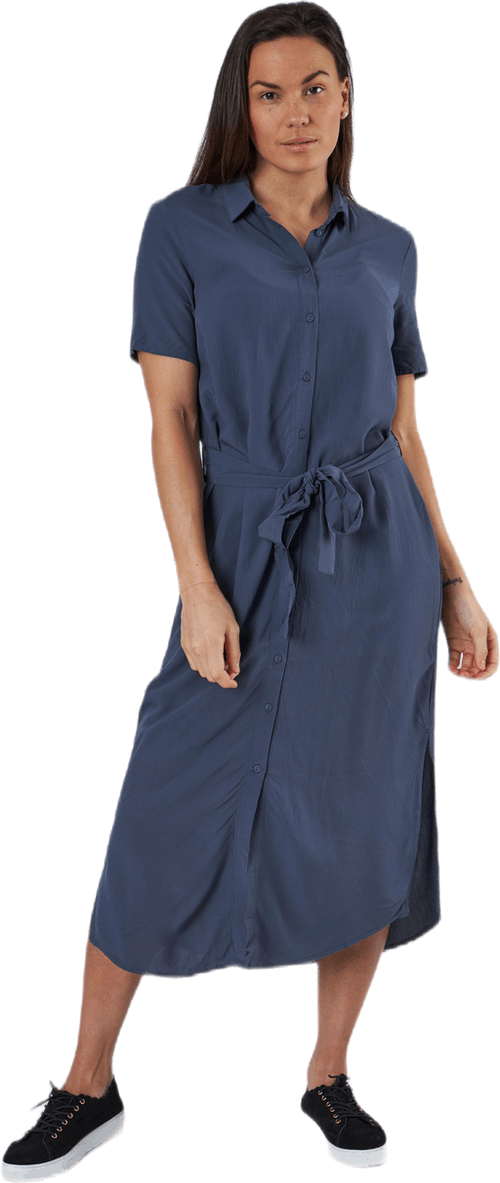 Cecilie Ss Long Dress Blue