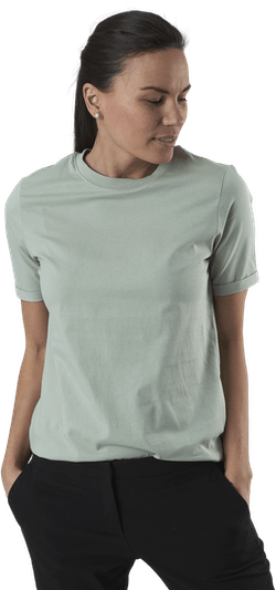 Ria Ss Fold Up Solid Tee Beige