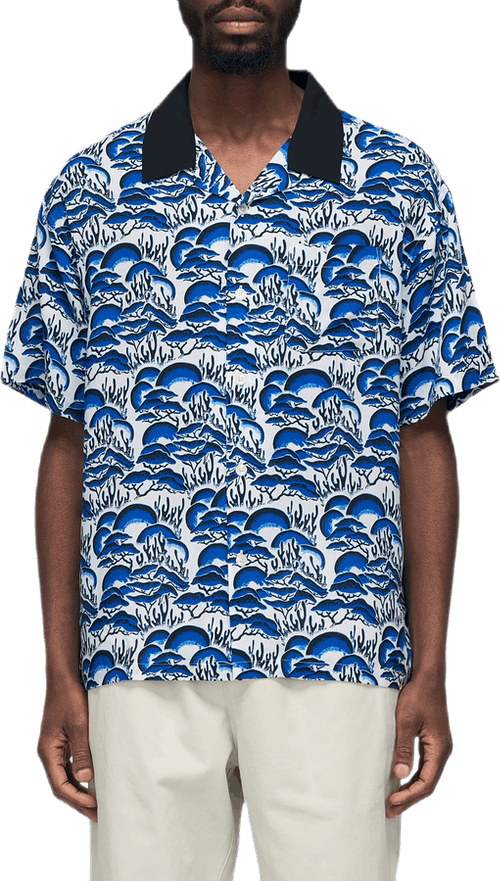 Coral Pattern Shirt Blue