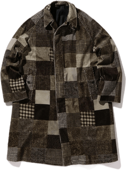 Balmacaan Coat Corduroy Patchw Gray