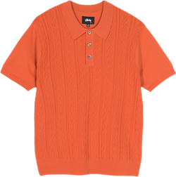 Cable Short Sleeve Polo Orange
