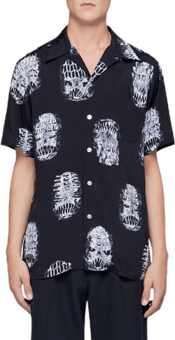 Neck Face Short Sleeve Shirt Black