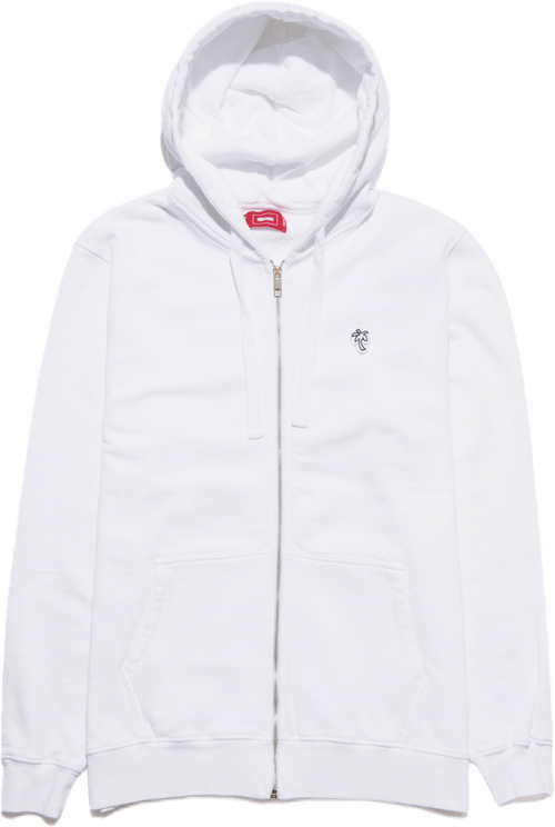 Palm Patch Zip Hoodie White