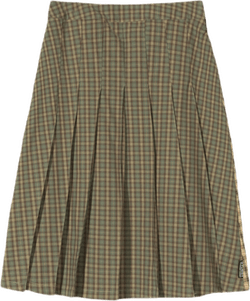 W Mix Plaid Pleated Skirt Multi