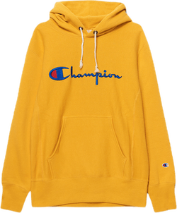 Reverse Weave Pullover Hood Yellow