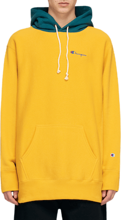Color Block Hooded Sweatshirt Yellow