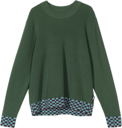 W Checker Trim Sweater Green