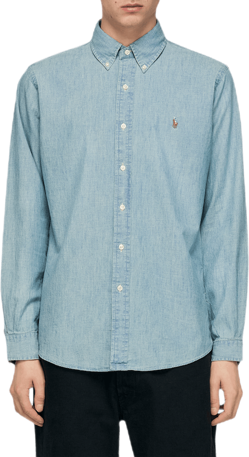 Custom Fit Chambray Shirt Blue