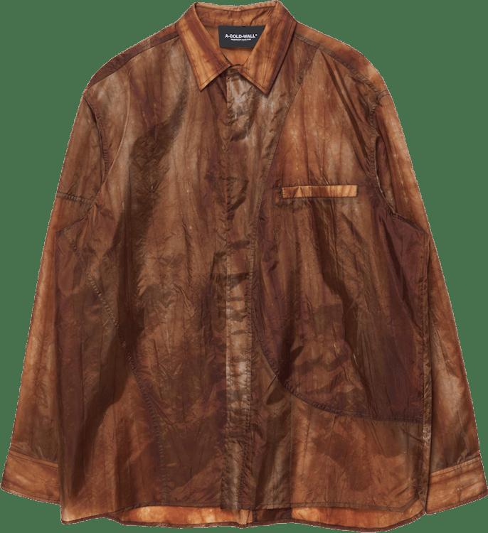 Translucent Long Sleeve Shirt Khaki