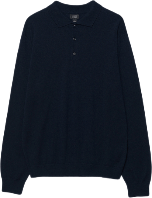 Washable Merino Wool Polo Swea Blue