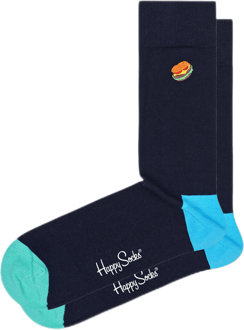 Embroidery Hamburger Sock Multi