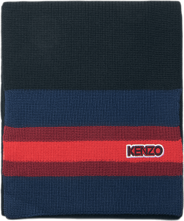 Logo Patch Knitted Scarf Black