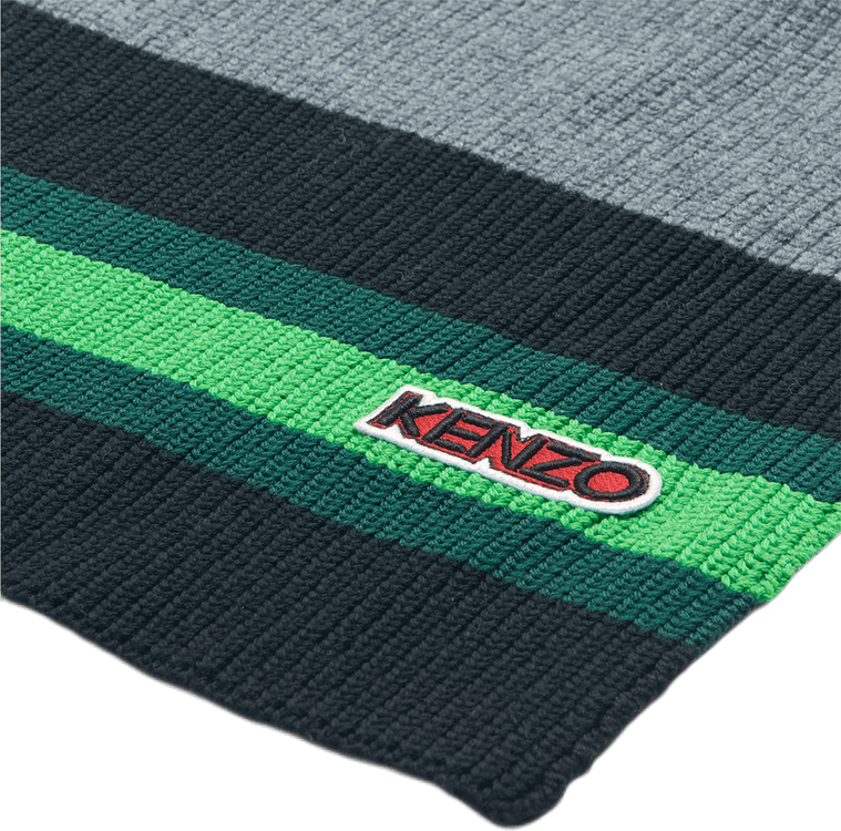 Logo Patch Knitted Scarf Gray